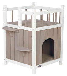 Trixie - Trixie Kedi Evi, Teraslı ve Balkonlu, 45x65x45cm, Gri/Beyaz