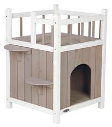 Trixie Kedi Evi, Teraslı ve Balkonlu, 45x65x45cm, Gri/Beyaz - Thumbnail