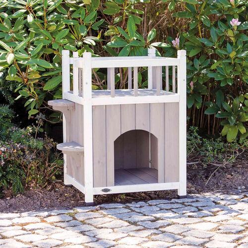 Trixie Kedi Evi, Teraslı ve Balkonlu, 45x65x45cm, Gri/Beyaz