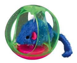 Trixie - Trixie Kedi Oyuncağı, Top İçinde Peluş Fare, 6cm
