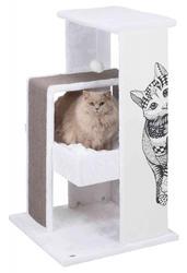 Trixie Kedi Tırmalama Oyun Evi, 101cm, Beyaz/Gri - Thumbnail