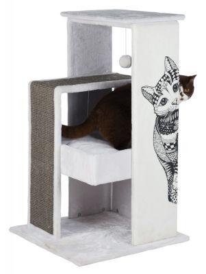 Trixie Kedi Tırmalama Oyun Evi, 101cm, Beyaz/Gri