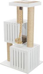 Trixie - Trixie Kedi Tırmalama ve Oyun Evi, 114cm, Beyaz/ Kum Beji