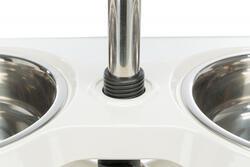 Trixie Köpek Ayaklı Mama ve Su Kabı, Melamin/Paslanmaz Çelik, 2×1,6lt/ø21cm, Beyaz - Thumbnail