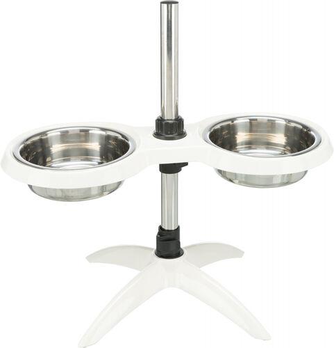 Trixie Köpek Ayaklı Mama ve Su Kabı, Melamin/Paslanmaz Çelik, 2×1,6lt/ø21cm, Beyaz