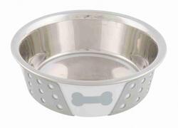 Trixie - Trixie Köpek Mama Su Kabı, Paslanmaz Çelik/Silikon, 0,4lt/ø 14 cm, Beyaz/Gri