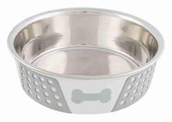 Trixie - Trixie Köpek Mama Su Kabı, Paslanmaz Çelik/Silikon, 1,4lt/ø 21 cm, Beyaz/Gri