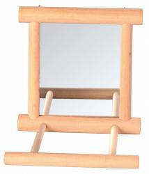 Trixie - Trixie Tünekli Kuş Aynası, Ahşap, Zilli, 9X9cm